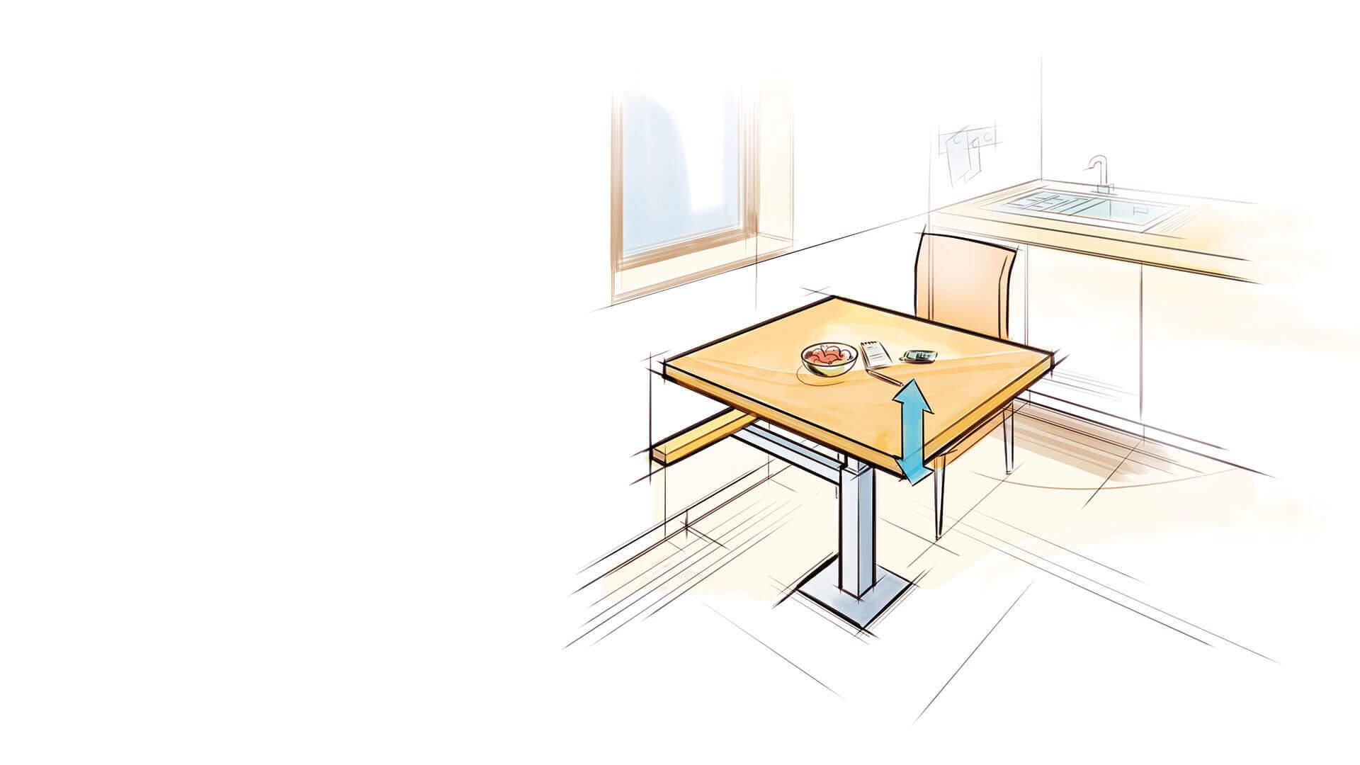 Zeichnung höhenverstellbarer Tisch